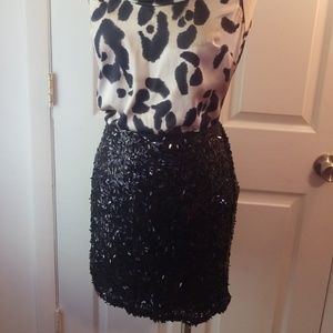 NWT ANN TAYLOR black sequin skirt
